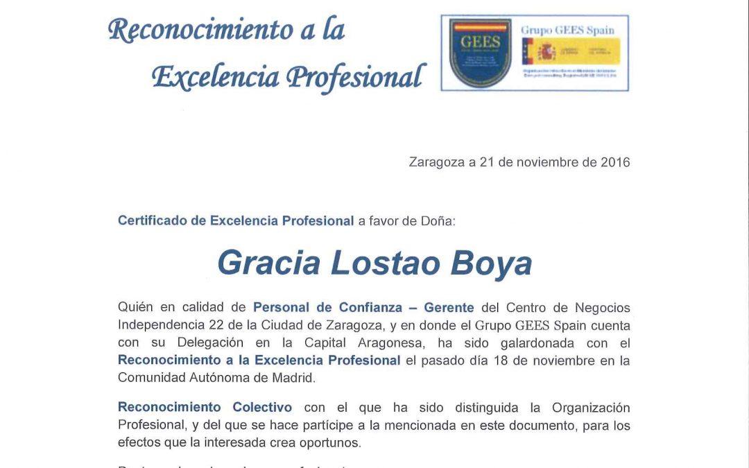 El Grupo GEES Spain nos concede el certificado a la 'Excelencia Profesional'